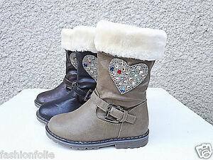 Filles-bottes-bottine-zip-fourrure-fourree-hiver-strasse-chaud-T-19-36-905