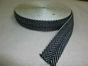 """10 metre rolls of BLACK & WHITE - 2"""" UPHOLSTERY WEBBING for seats & furniture"""