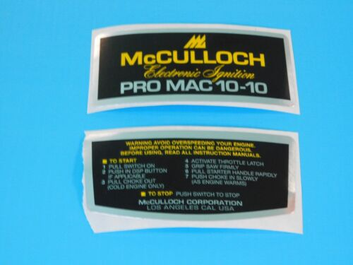 McCULLOCH CHAINSAW PRO MAC 10-10 DECAL SET -------------- UP484DECALAB
