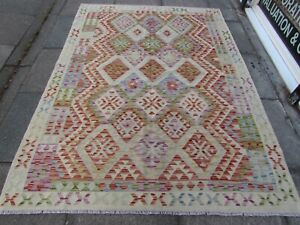 Kilim-Old-Traditional-Hand-Made-Afghan-Oriental-Red-Wool-Large-Kilim-234x174cm