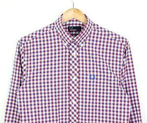 FRED-Perry-da-uomo-bianco-Red-Gingham-Check-Manica-Lunga-Camicia-Di-Cotone-100-Taglia-S