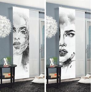 schiebegardine face fl chenvorhang schiebevorhang vorhang raumteiler ebay. Black Bedroom Furniture Sets. Home Design Ideas