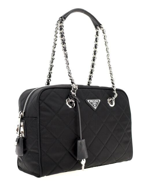 Prada Shoulder Bag Quilted Black Nylon