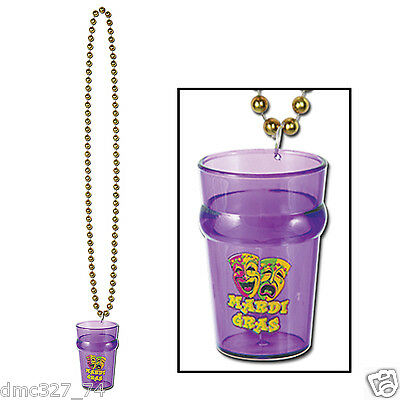 1 MARDI GRAS Fat Tuesday Party Novelty Accessory Beads Necklace with SHOT GLASS