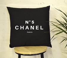 Negro Y Blanco No5 PARIS inspiración Cojín Chanel de algodón de Moda de Lujo