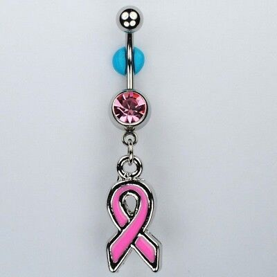 STEEL DANGLE BELLY BUTTON NAVEL RING BREAST CANCER AWARENESS PINK RIBBON CZ