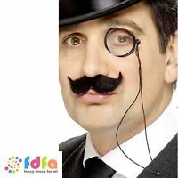 BLACK GENTLEMANS MONOCLE ON CORD OLD ENGLAND mens fancy dress costume accessory