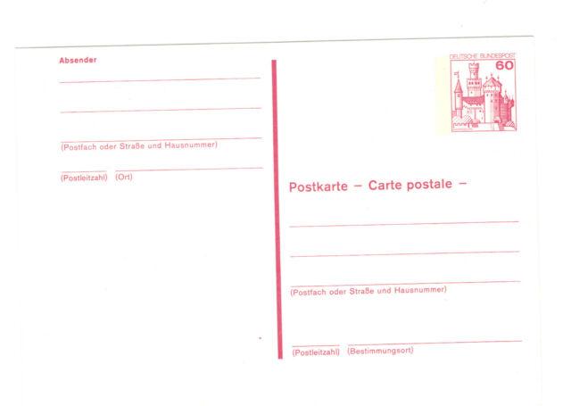 2  Auslands-Postkarten 1979  60 Pf Marksburg dichter Beidruck