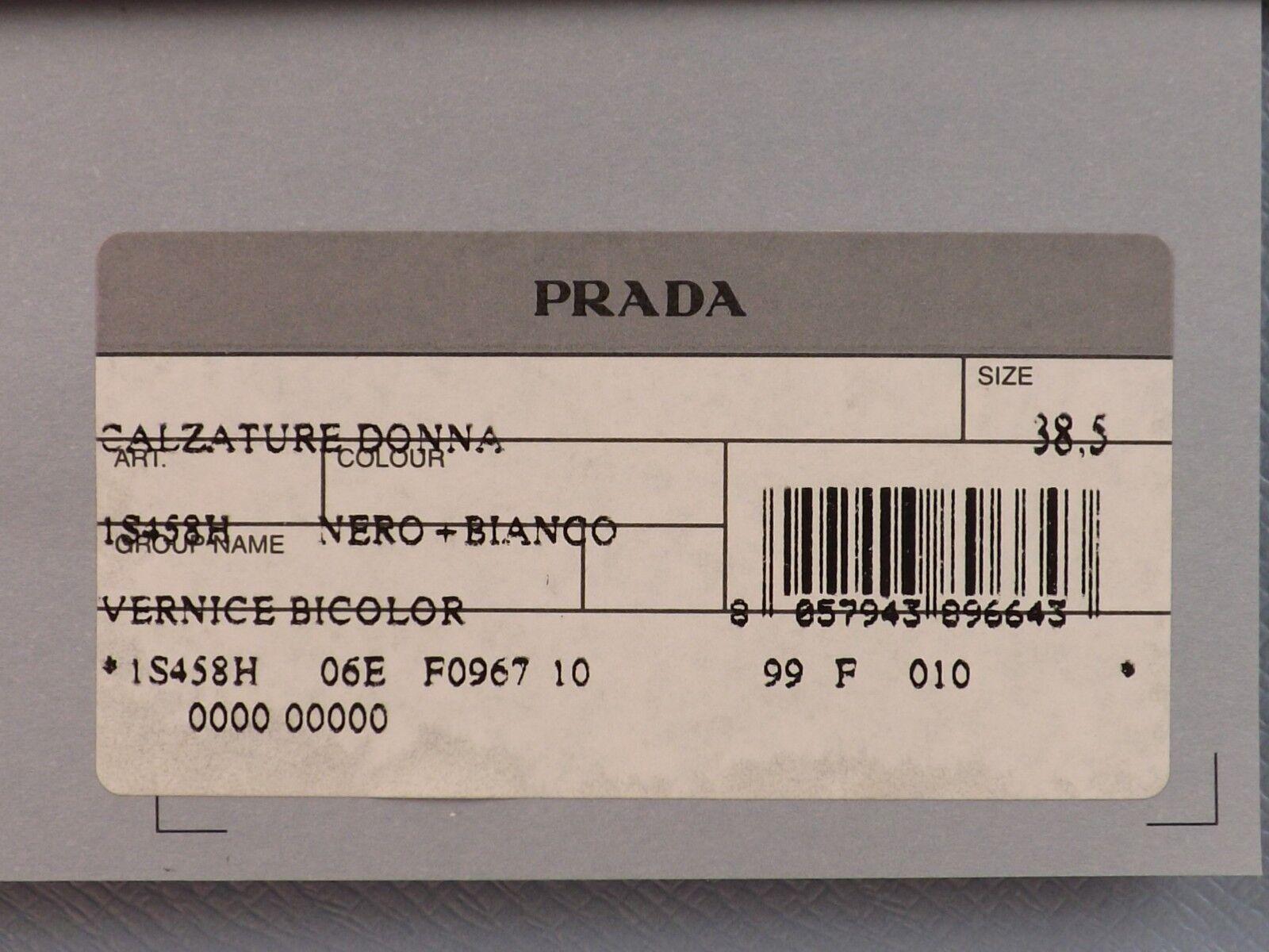 Nuevo En Caja Blanco Prada Charol Negro Blanco Caja Hebilla arco antideslizante en pisos 37 Italia f2693d