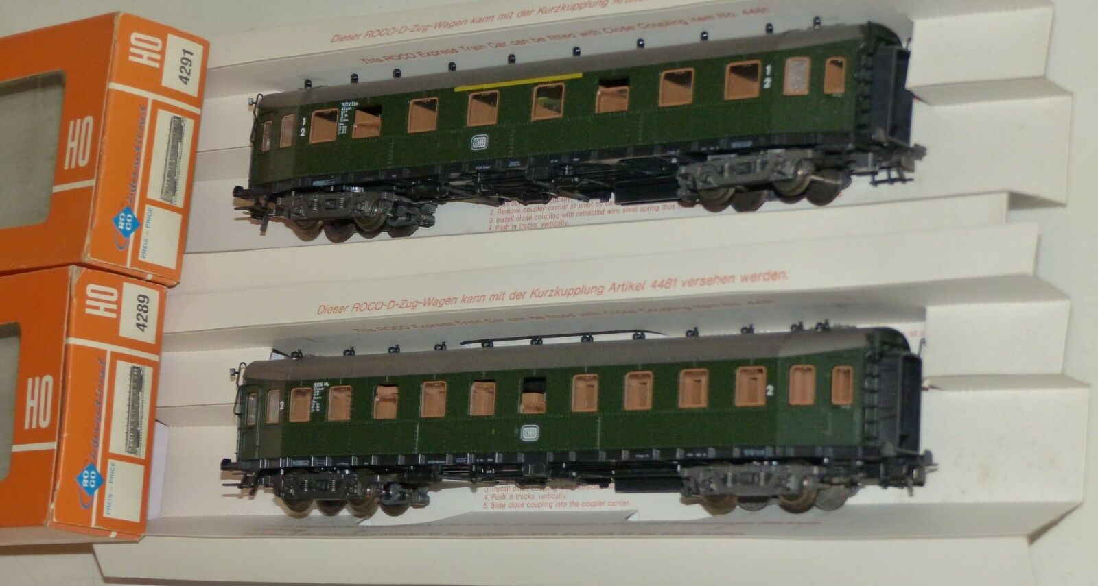 2 Roco Pike Car Passenger Cars  4291 and 4289 OVP h0 1 87