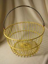 Vintage Yellow Wire Egg/Apple Basket-Hanging Plant Basket