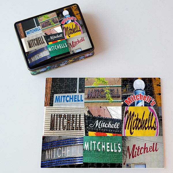 Personalized Puzzle featuring the name MITCHELL in actual sign photos