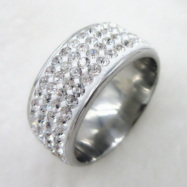 Titanium Swarovski Crystal Stainless Steel Ring Engagement Wedding Size 7-10