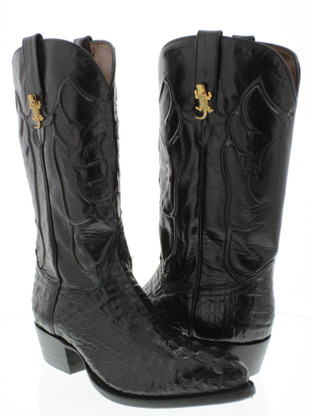 Cabeza De Cocodrilo Cocodrilo Genuino Hombres negro botas de vaquero occidental J Toe Rodeo