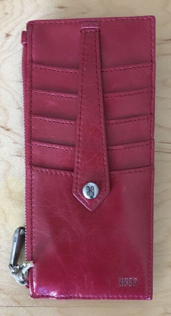 new style 0711b dc253 Women's Hobo International Leather Card Case Wallet Linn Geranium Red