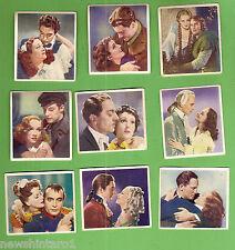#D133. NINE  1939  FAMOUS  MOVIE  LOVE  SCENES  CIGARETTE CARDS