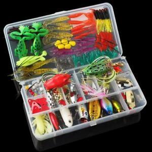 131pcs Fishing Lures Kit Mixed Crankbaits Hooks Bass Minnow Baits Tackle w/ Box
