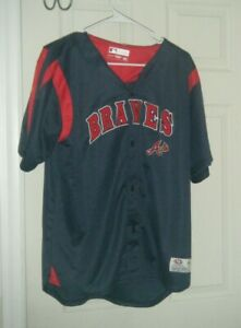 huge discount d3264 ef81d Details about Atlanta Braves MLB Navy Blue True Fan Baseball Jersey Boys XL  Used