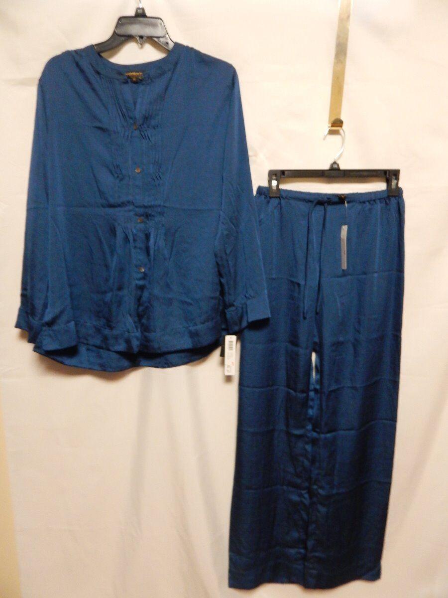 women Karan Sleepwear Satin 2 piece Pajama Set  bluee   NWT