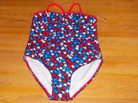 Size Medium 7-8 Op Ocean Pacific One-piece Swimsuit Patriotic Stars Red Navy