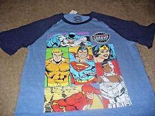 Justice League Men's Batman Wonder Woman Superman Blue T-Shirt  Size Large L