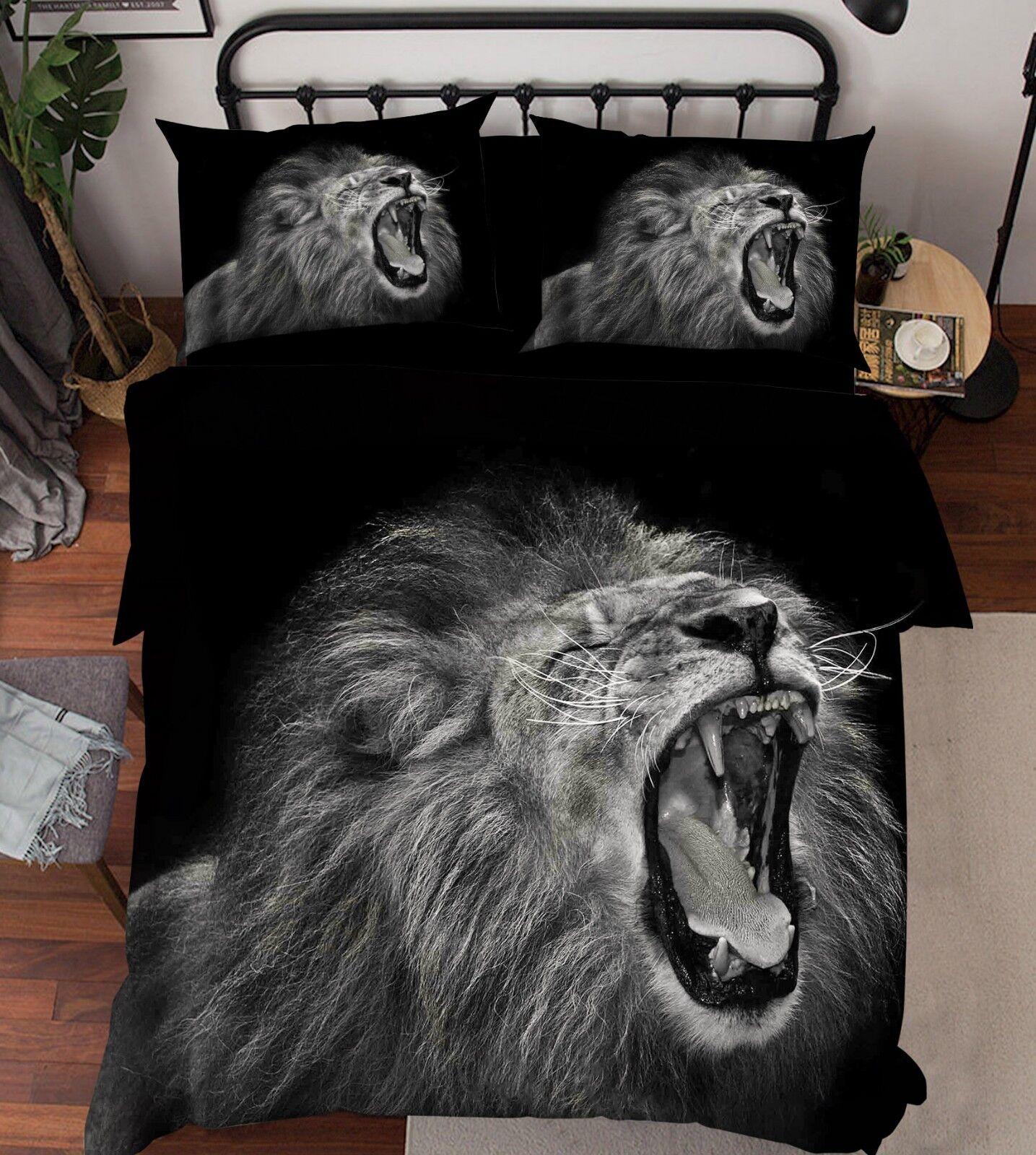 3D Lion Animal 787 Bed Pillowcases Quilt Duvet Cover Set Single Queen King CA