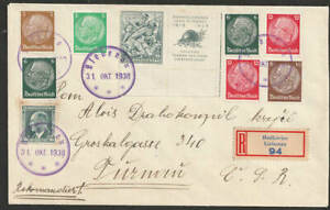 Sudeten Liebenau Hodkovice 31.10.1938 R-Brief > CSR , int. Stempel + Frankatur