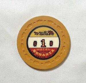 RARE 60's Bonanza Hotel & Casino Las Vegas Nevada SY GELLER 1 dollar Chip MGM