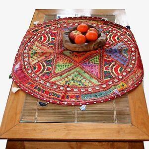 Tischlaeufer-Patchwork-Tischdecke-Rajasthan-Wandbehang-Indien-Teppich-Rund-bunt