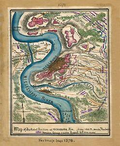 "1863 MAP, Civil War, antique, hand drawn art, Vicksburg, Mississippi 24""x20"""