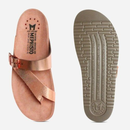Mephisto Womens Helen Sandals in Nude Pink Metallic-Ladies