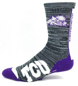 TCU-Horned-Frogs-NCAA-Gray-and-Black-RMC-Vortex-Crew-Socks
