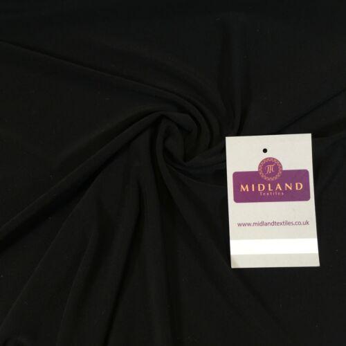 "Jet Black ity Spandex Jersey Stretch Robe Tissu Large 58/"" AC785 Mtex"