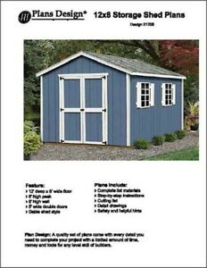 12 x 8' Classic Gable Storage Shed Project Plans - Design #21208