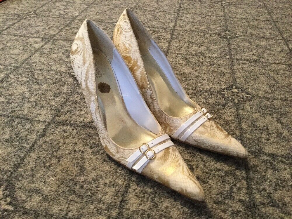 "Splash Fashion Footwear Gold Lame Pumps Size 7 Heels New Never Worn 4"" Heels 7 b69de7"