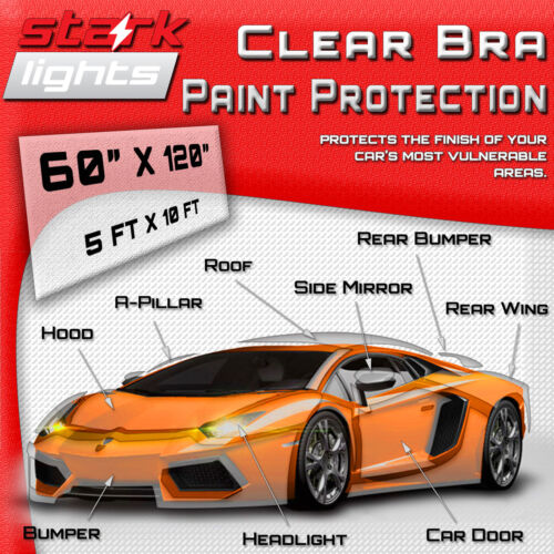 """Clear Paint Protection Bra Film Car Vinyl Wrap Invisible Scratch 60/"""" x 120/"""" Inch"""