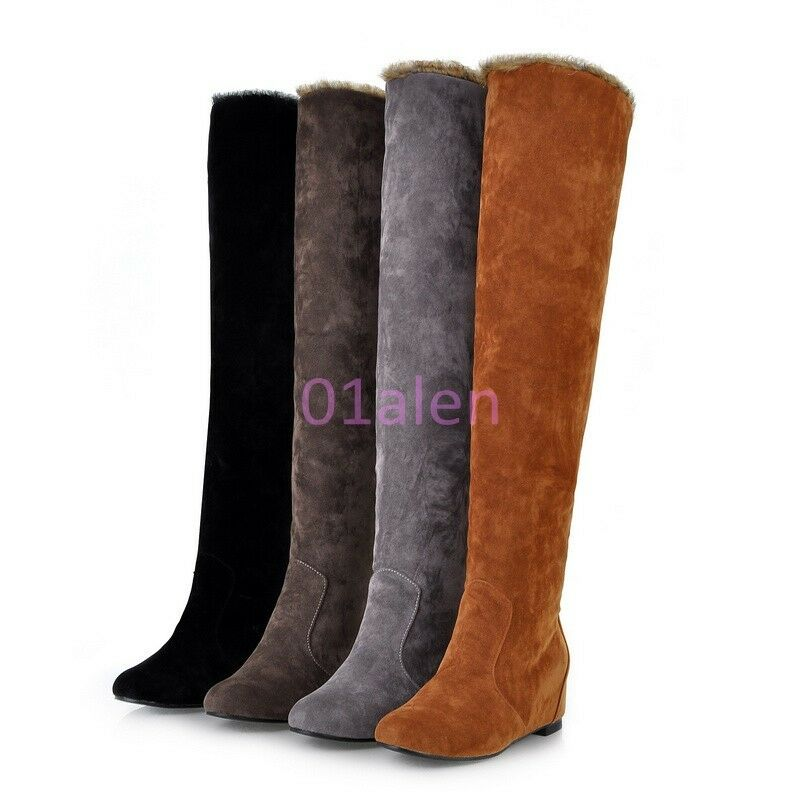 Fashion Women's Faux Suede Over the Knee Flat Tall Knight Boot Snow Boots shoes