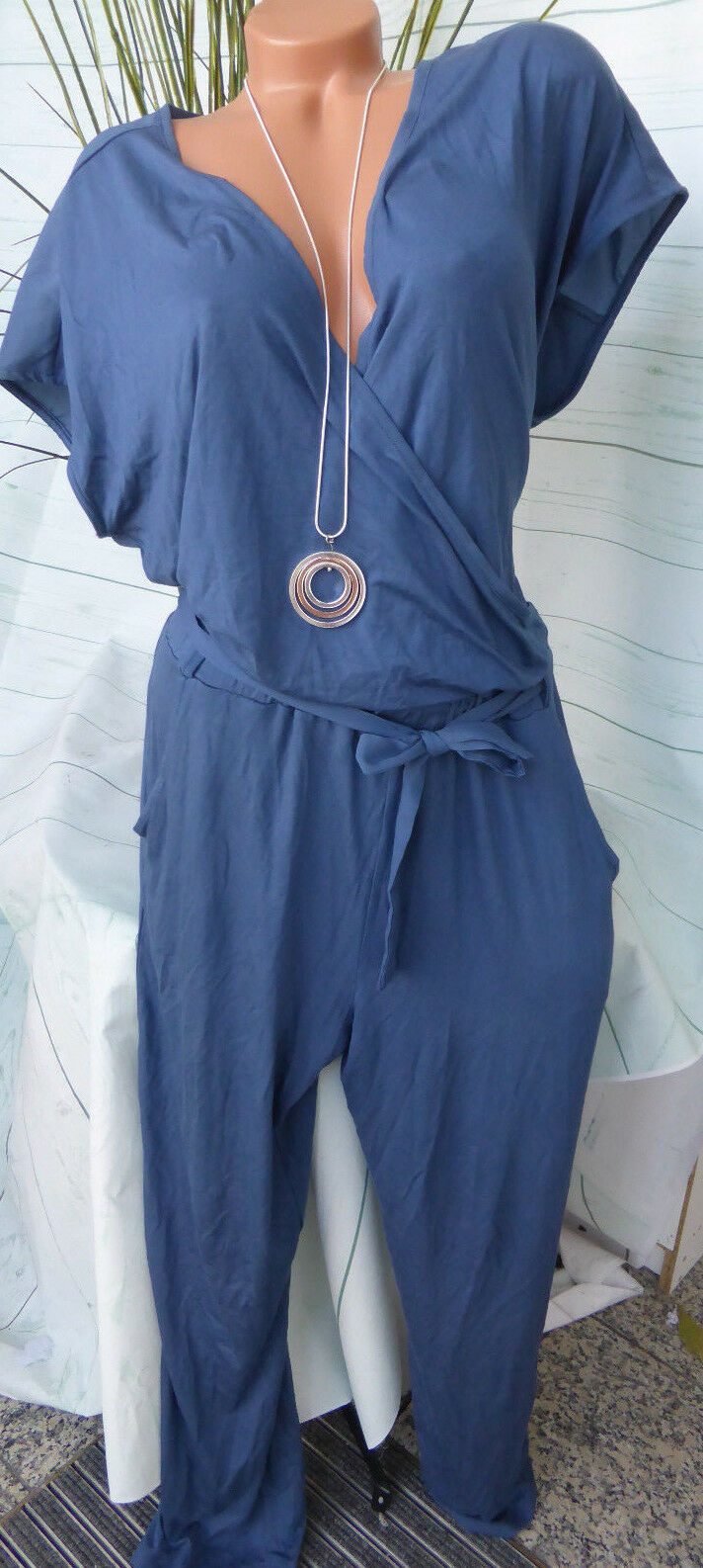 Sheego Jumpsuit Suit Size 44 and 58 bluee Tone plus Size (369)