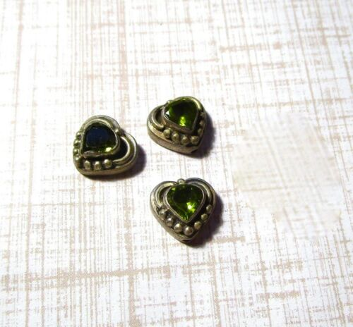 Sterling Silver Peridot Coeur Perles Charm Pendentif QTY1 11 mm août Pierre de naissance