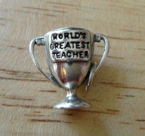 Sterling Silver 3D 16x18mm says World/'s Greatest Teacher Cup Charm