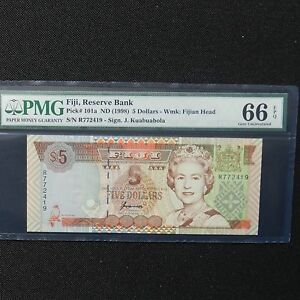 ND-1998-Fiji-5-Dollars-Pick-101a-PMG-66-EPQ-Gem-Uncirculated
