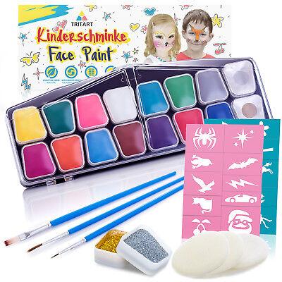 Kinderschminke Set 42 Teile | Wasserlösliche Schminkfarbe | Gratis Schwämme