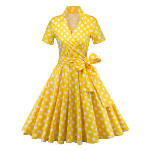 Women-Vintage-50s-60s-Rockabilly-Pinup-Housewife-Polka-Dot-Swing-Evening-Dress