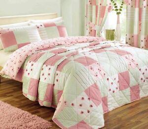 Pink Patchwork Bedding, Duvet / Quilt Cover, Bedspread or Bedroom Curtains