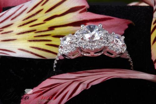 1.85ct Round Cut Halo 3-Stone Engagement Wedding Anniversary Ring 14k White Gold