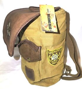 ac3ffbf611f1 Details about AMC Rick Grimes Sheriff Backpack The Walking Dead Backpack  Brown Tan