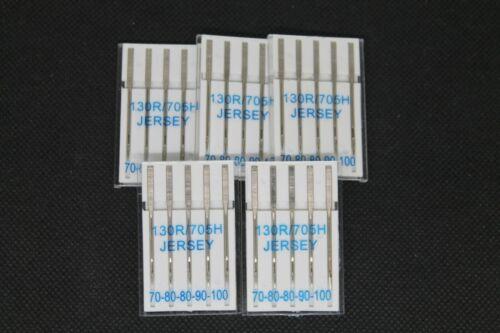 Jersey Nadel Flach Kolben 130//705 Jersey Nähmaschinennadeln Universal 5 Stück