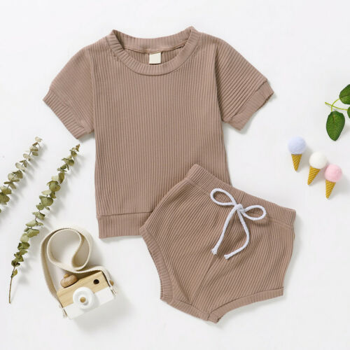 Toddler Kids Baby Girls Boys Solid T-shirt Tops+Bow Shorts 2PCS Outfits Clothes