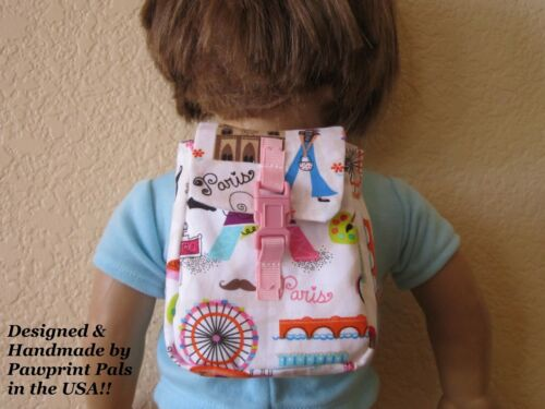 PARISIAN BACKPACK with Buckle features French Themed Designs fits American Girl