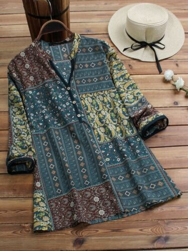 Solid Blouse Floral Top New Casual Jumper Tops Loose V Neck Pullover Fashion A